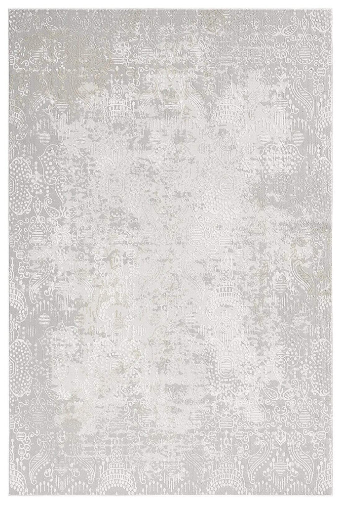 Montana Grey and Ivory Distressed Floral Rug