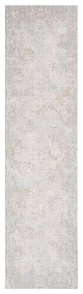 Montana Grey and Ivory Distressed Floral Runner Rug