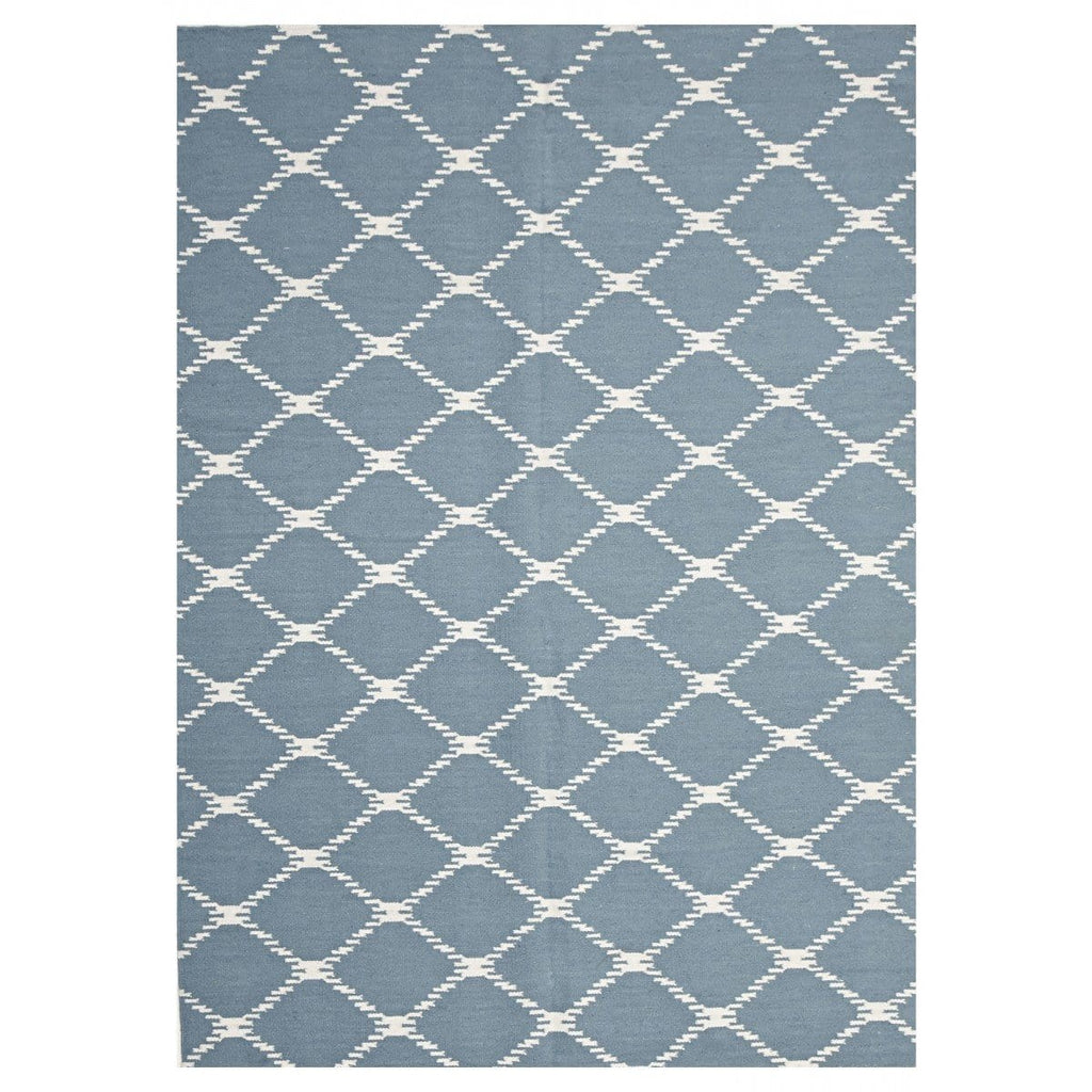 Montpellier Powder Blue Lattice Flatweave Rug