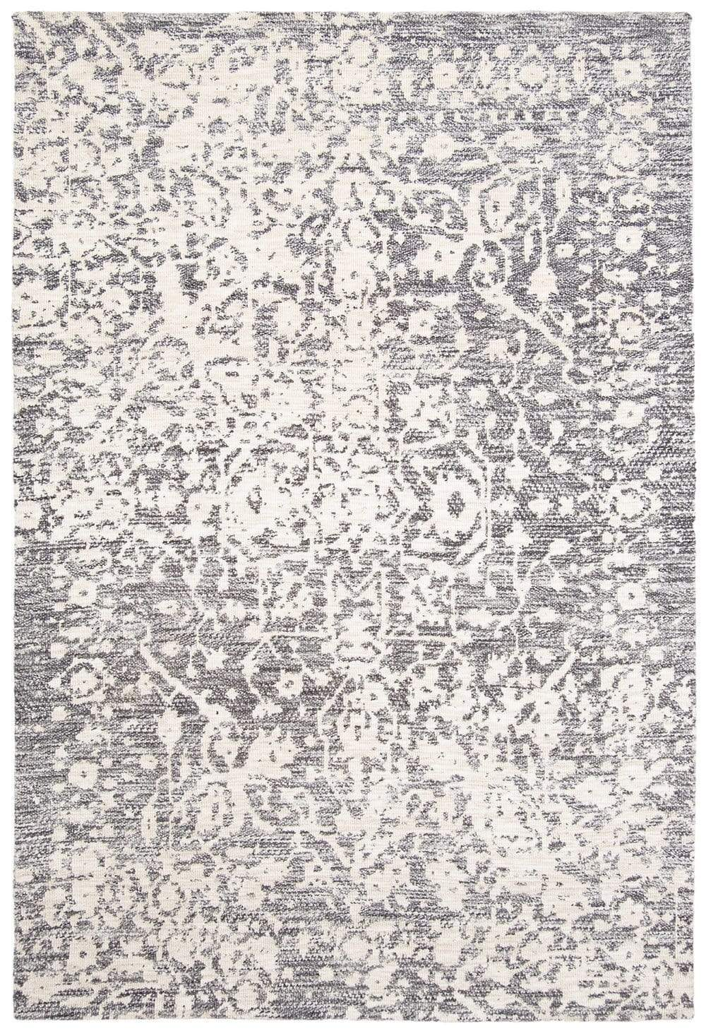 Nakoma Grey and Ivory Floral Tribal Rug