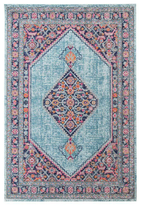 Naryn Blue Floral Medallion Distressed Rug