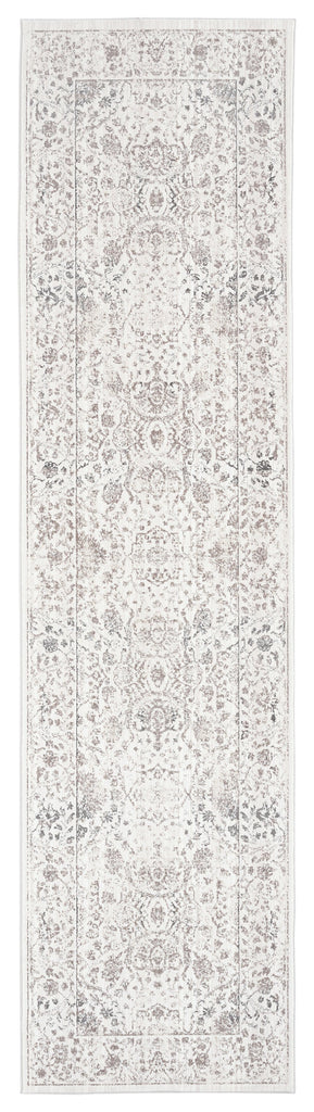 Natasha Cream and Silver Grey Traditional Floral Runner Rug