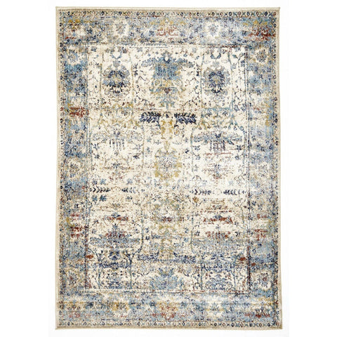 Nekkhen Cream & Blue Ornate Transitional Rug