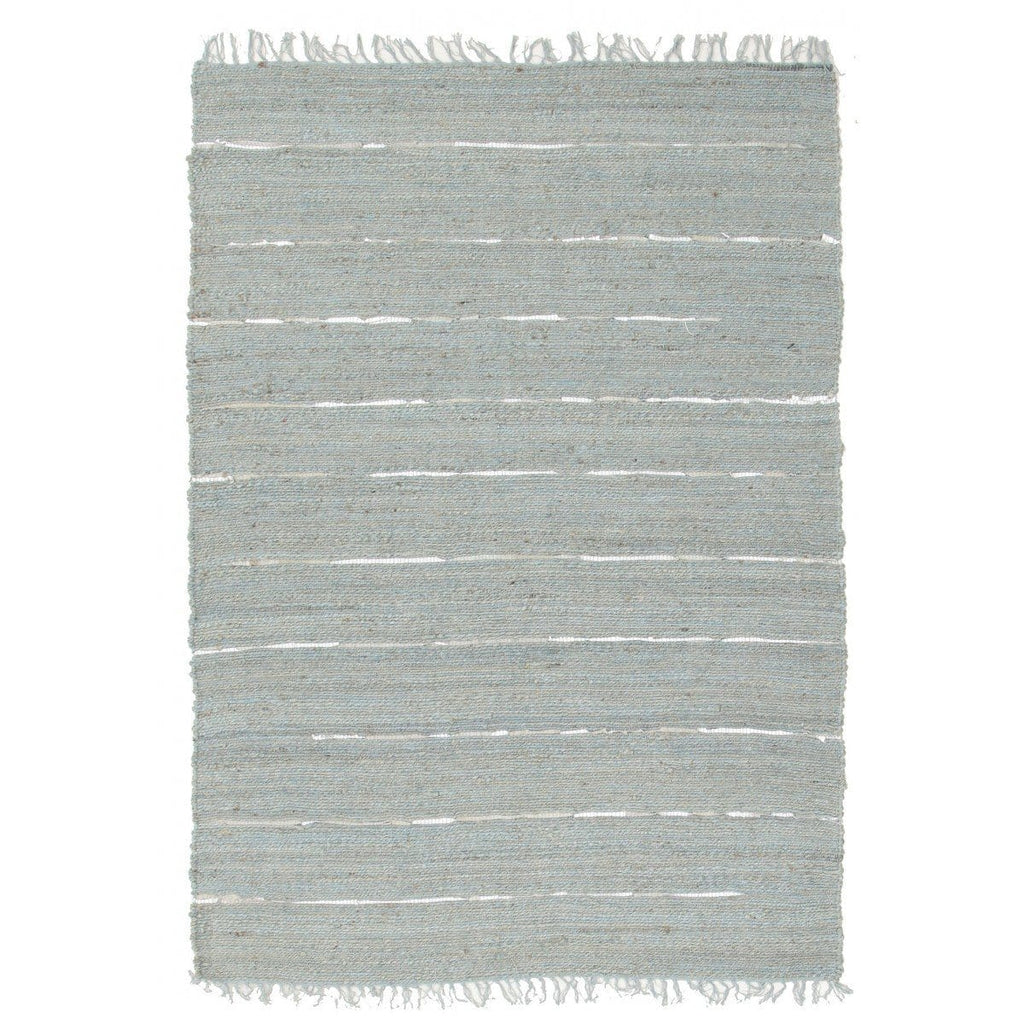 Nicobar Blue Jute & Silver Metallic Leather Rug