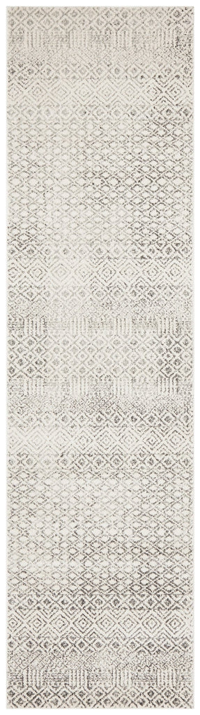 Nile Grey Diamond Ivory Runner Rug