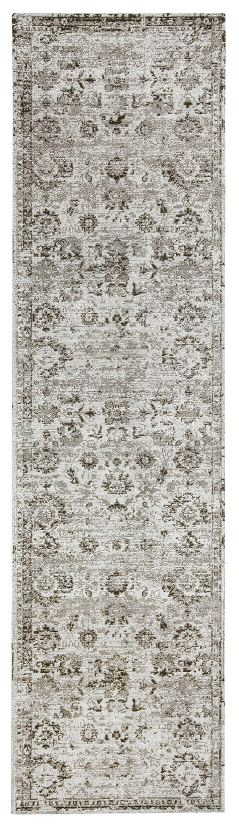 Nousha Black and White Transitional Runner Rug