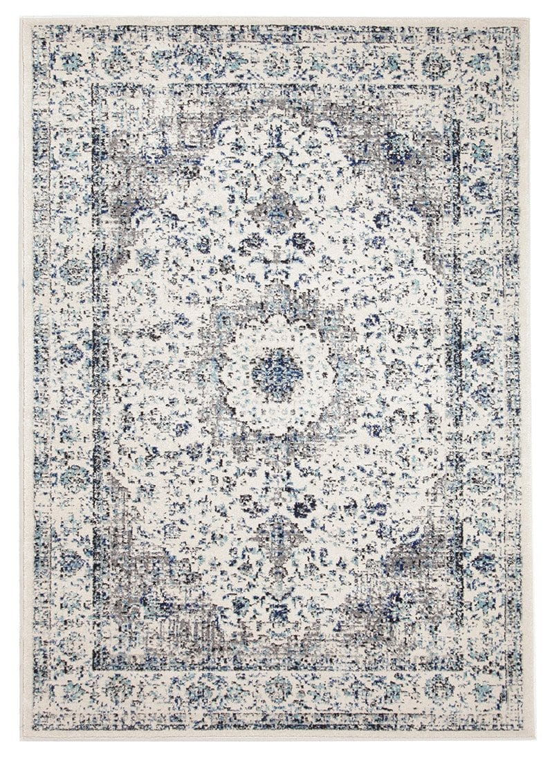 Nuuk Ivory & Blue Distressed Transitional Rug