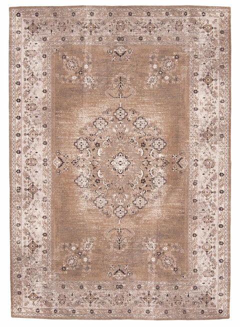 Olive Caramel Brown Traditional Medallion Rug
