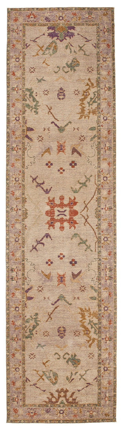 Olivia Boho Beige Purple and Coral Runner Rug