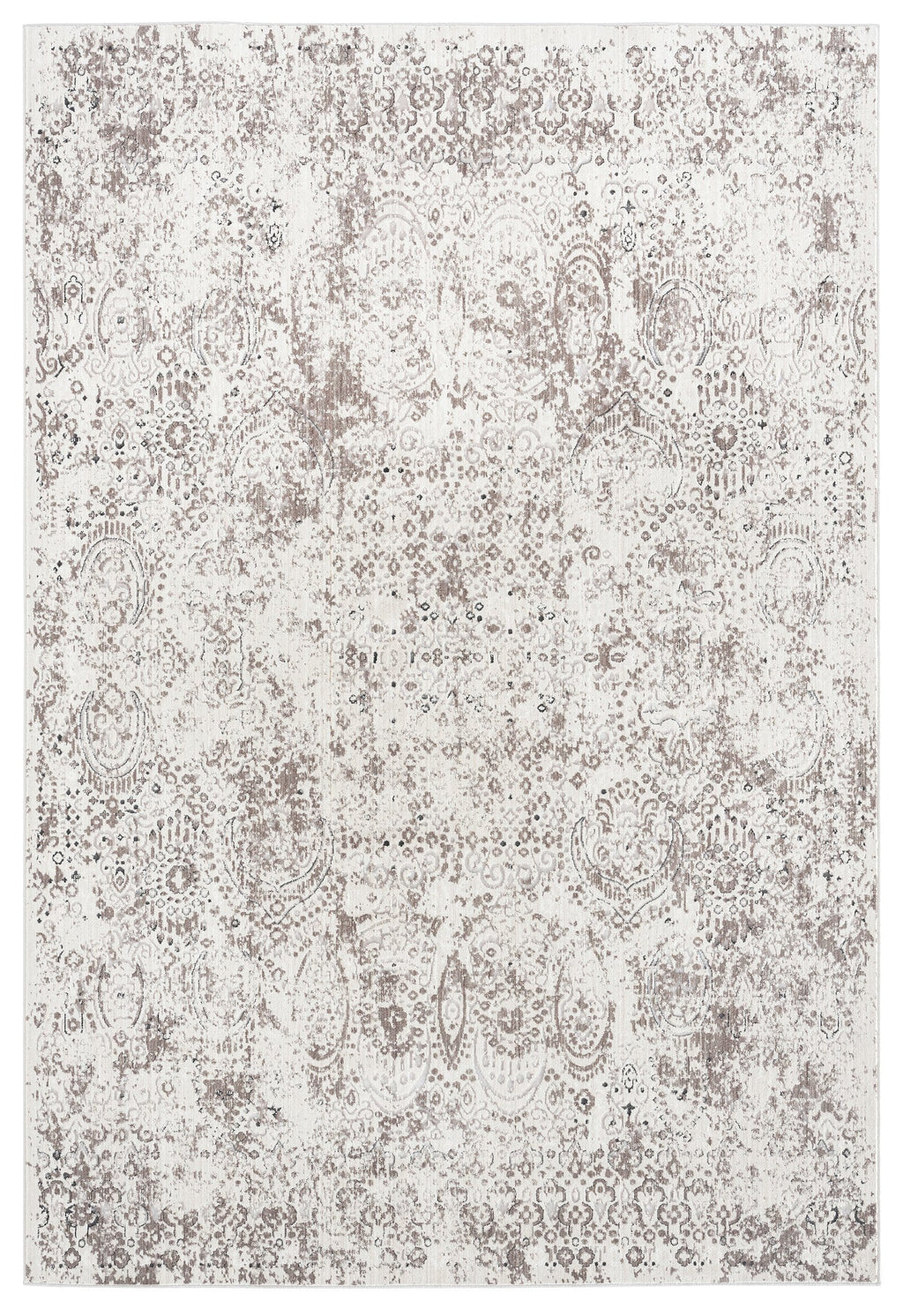 Poppy Cream Brown and Grey Traditional Floral Rug