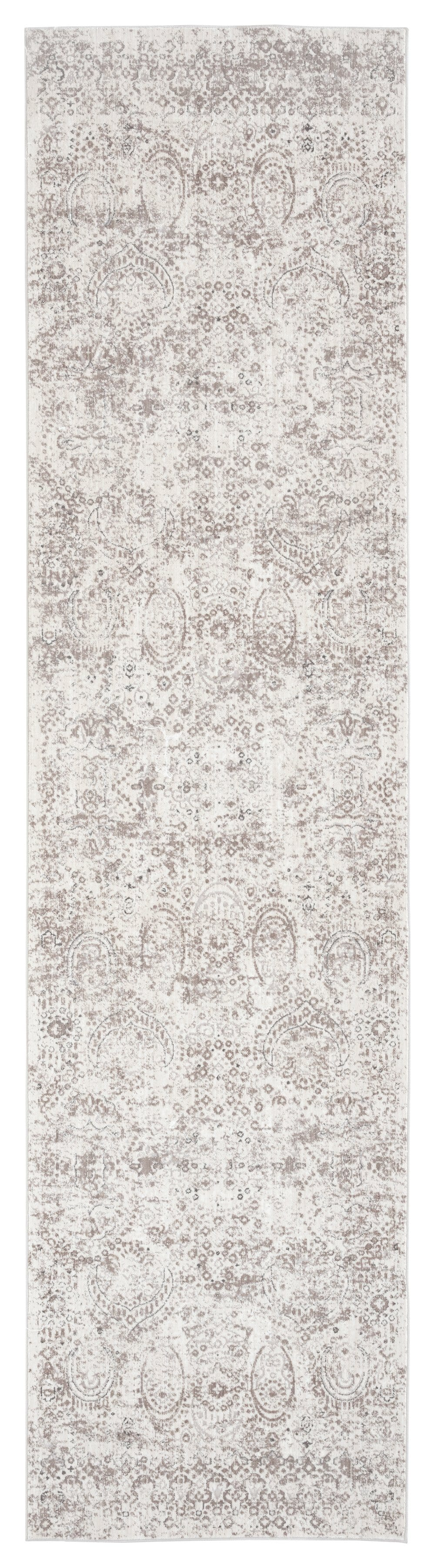 Poppy Cream Brown and Grey Traditional Floral Runner Rug