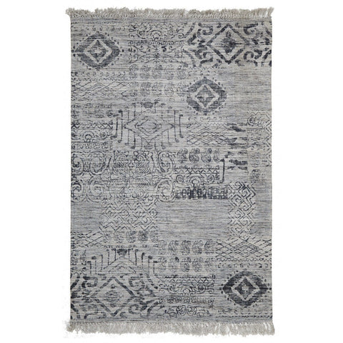 Posadas Blue Tribal Fringed Viscose Rug