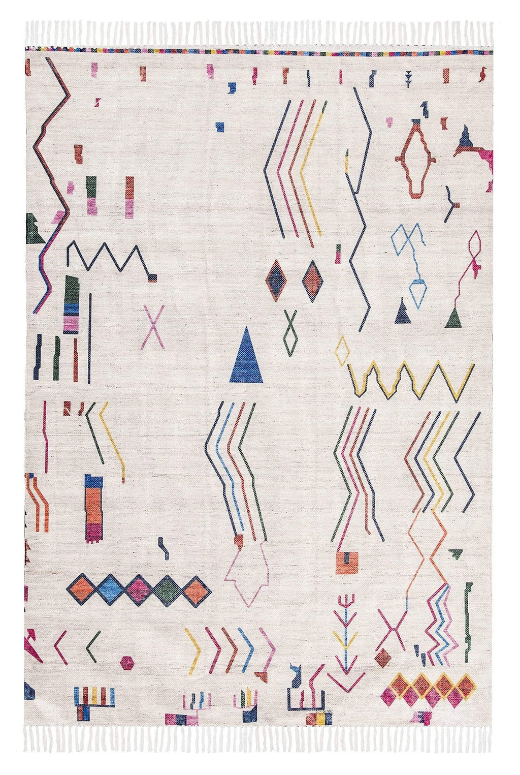 Remi Ivory Multi-Colour Abstract Tribal PET Beach Rug