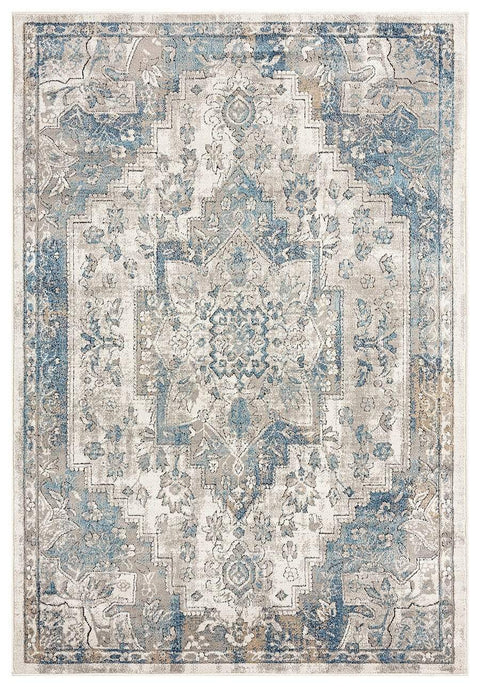 Rhona Blue and Grey Distressed Floral Rug