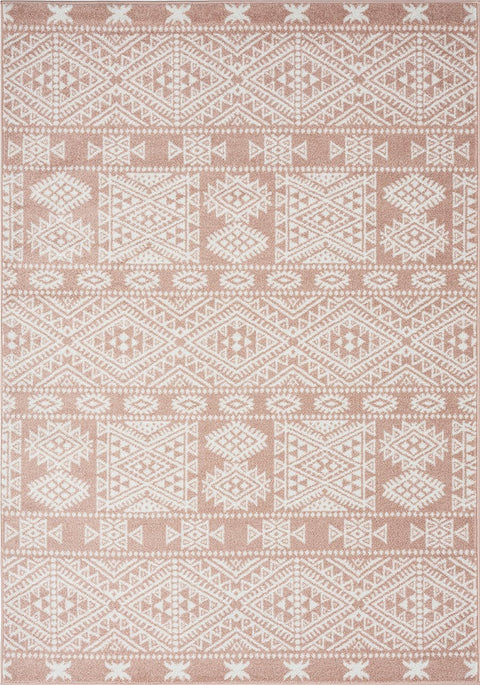 Rita Peach and Ivory Tribal Pattern Rug