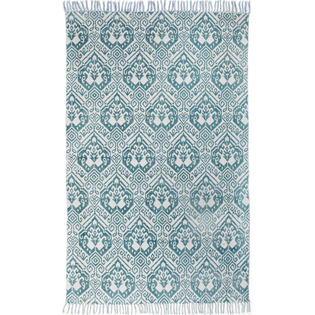 Rundu Turquoise Tribal Cotton Rug