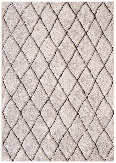 Safaga Ivory & Brown Lattice Diamond Rug