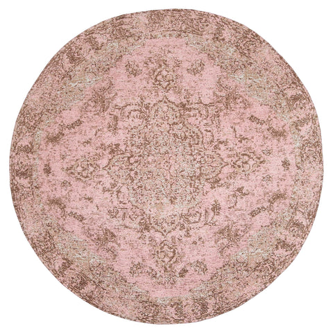 Sahara Turkish Style Pink Distressed Medallion Round Rug