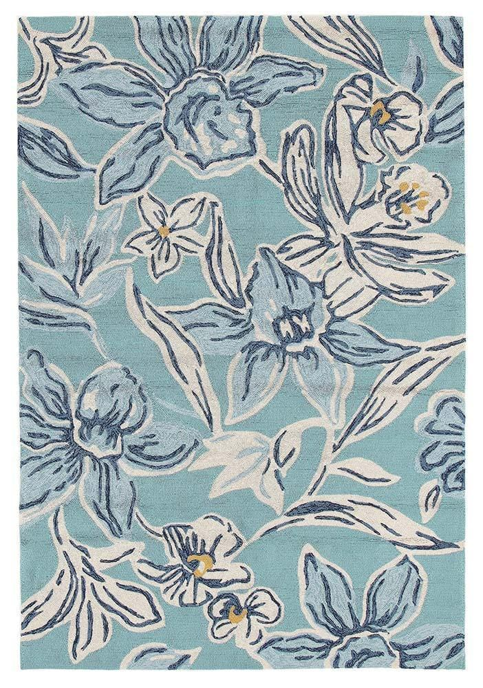 Sao Paulo Blue Floral Indoor Outdoor Rug