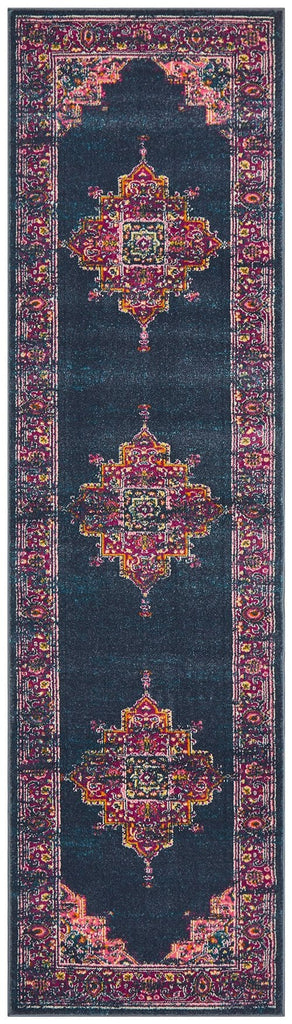 Sarcelles Navy & Fuschia Traditional Medallion Runner Rug