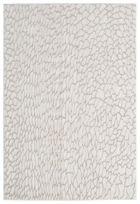 Sasha Ivory Cream and Grey Abstract Transitional Rug