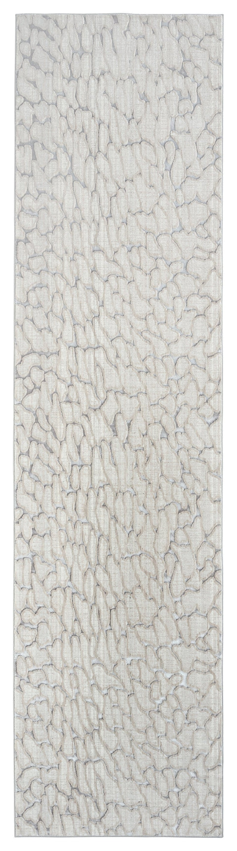 Sasha Ivory Cream and Grey Abstract Transitional Runner Rug