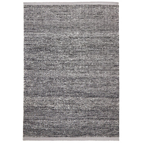 Sasi Black & White Chevron Wool & Viscose Rug