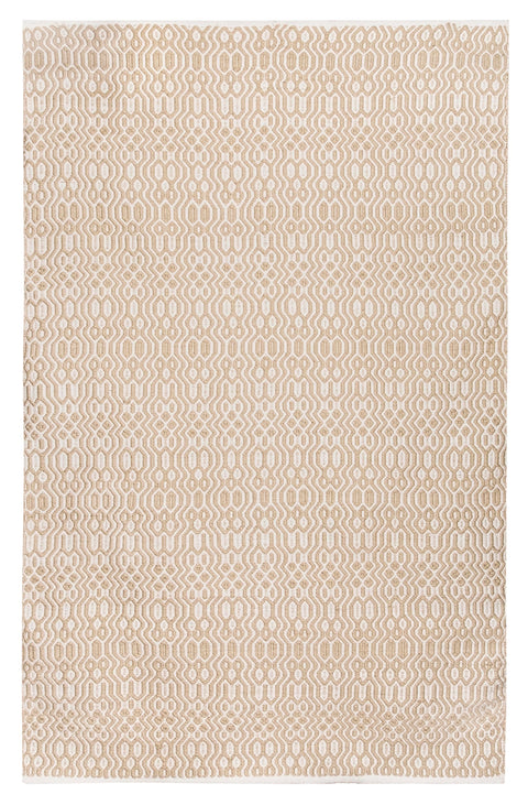 Saskia Beige and Ivory Indoor Outdoor PET Rug