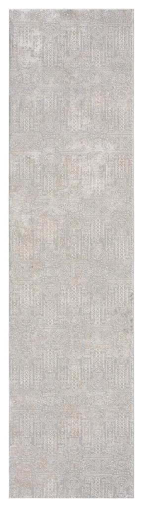 Satine Grey and Ivory Distressed Floral Tribal Runner Rug