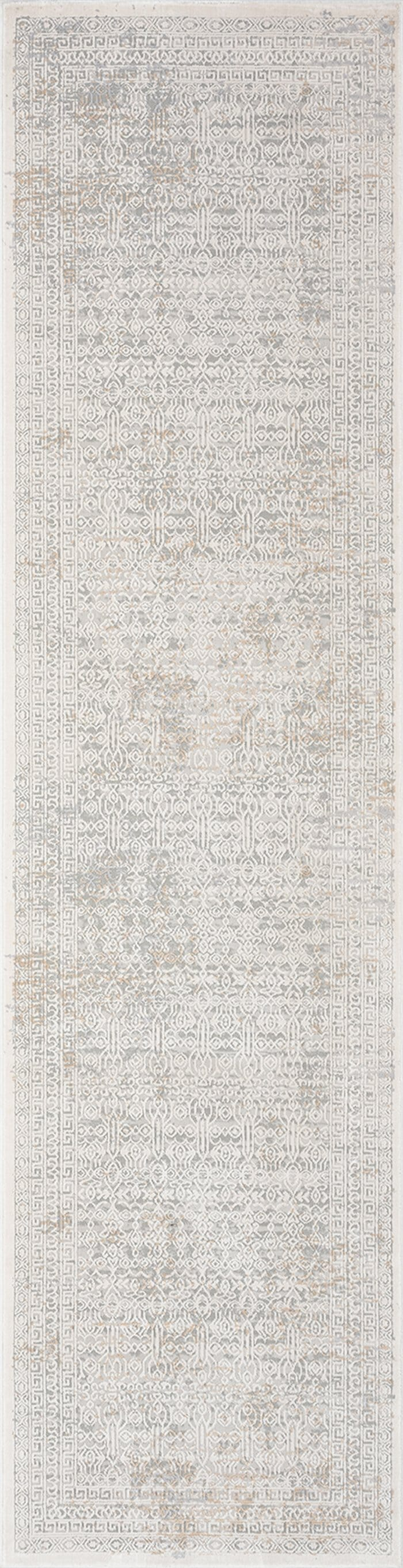 Seda Cream Ivory and Grey Traditional Floral Runner Rug