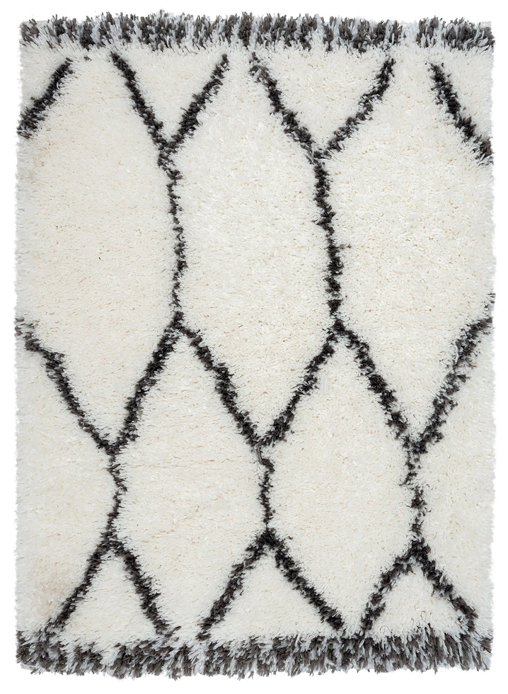 Selena Ivory and Charcoal Grey Tribal Shag Indoor Mat