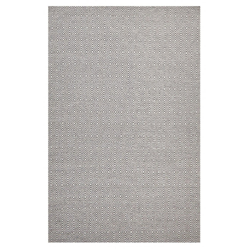 Selfoss Grey Diamond Wool Flatweave Rug