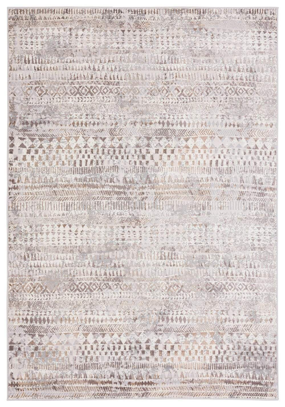 Selma Brown Grey and Ivory Distressed Tribal Rug