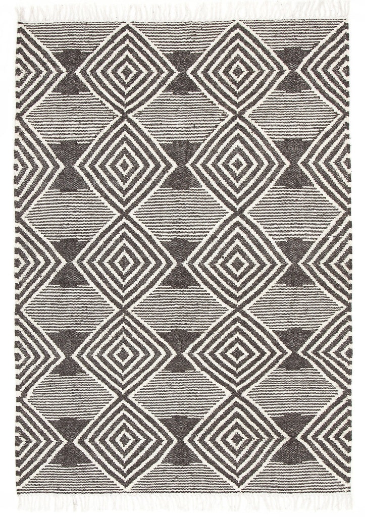 Shawnee Charcoal Tribal Fringed Rug