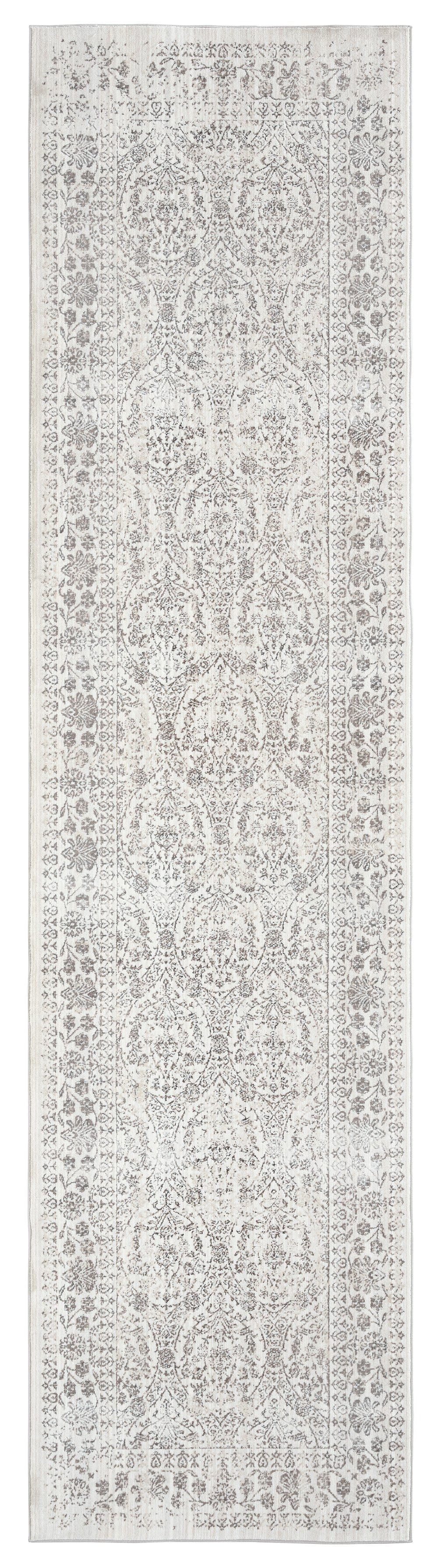 Simran Cream Brown and Silver Traditional Floral Runner Rug