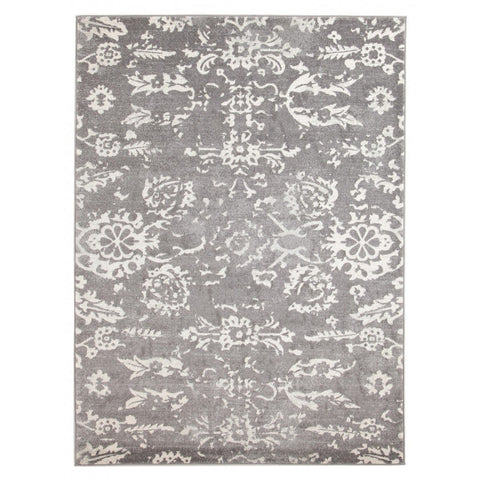 Solin Grey & Ivory Floral Rug