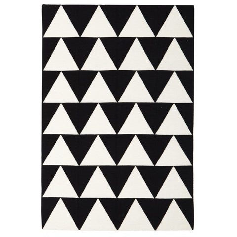 Stockholm Black & White Triangle Flatweave Kilim Rug