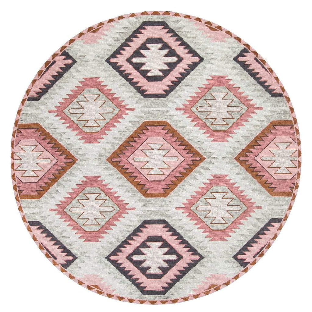 Suzie Pink and Green Pastel Tribal Print Round Rug