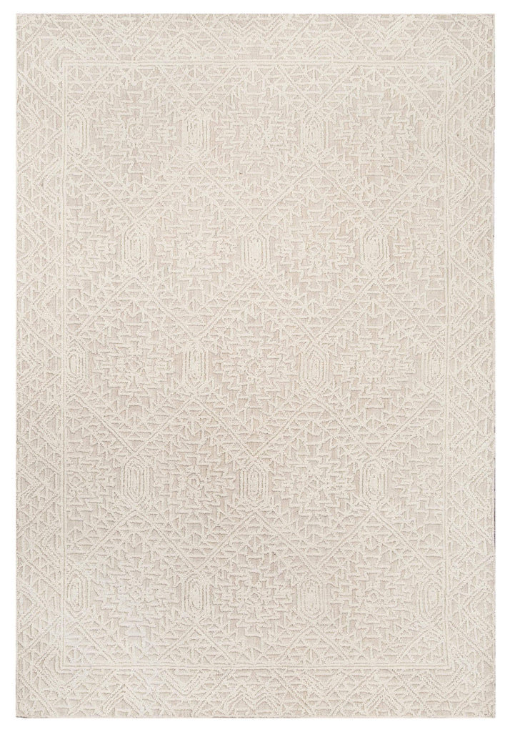 Takalo Beige and Ivory Textured Tribal Rug