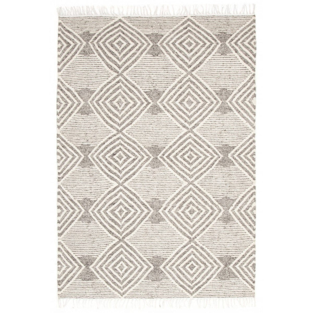 Takoma Grey Tribal Fringed Rug