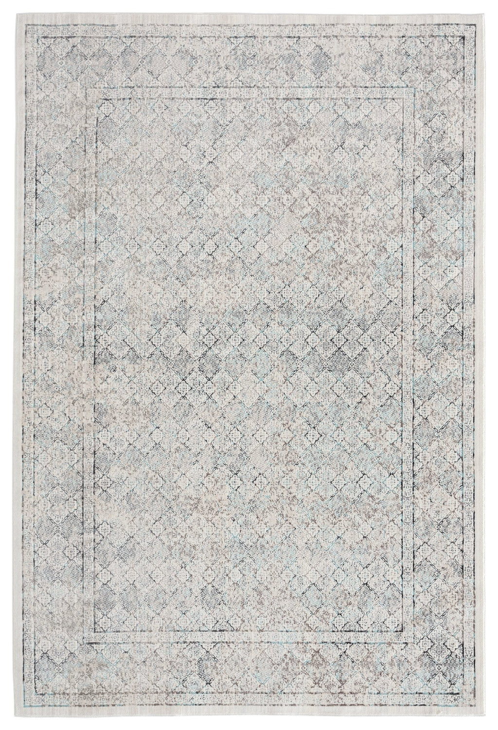 Tallulah Cream Grey and Blue Traditional Floral Rug