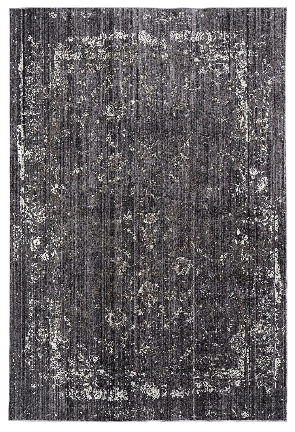 Tamara Dark Grey and Cream Floral Transitional Rug