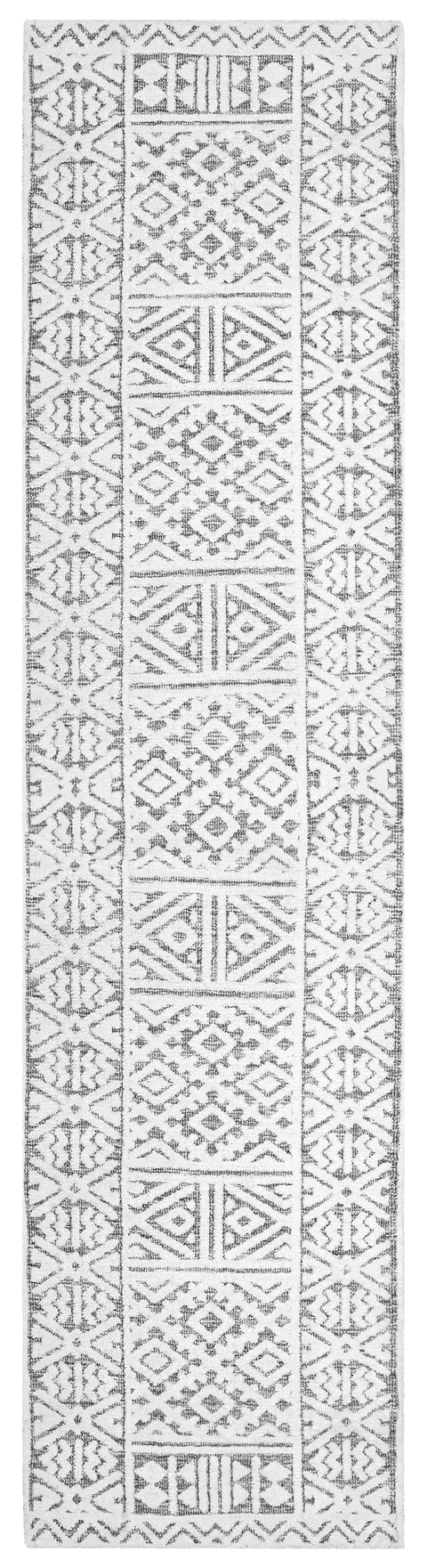 Tatiana Ivory and Grey Textured Tribal Runner Rug