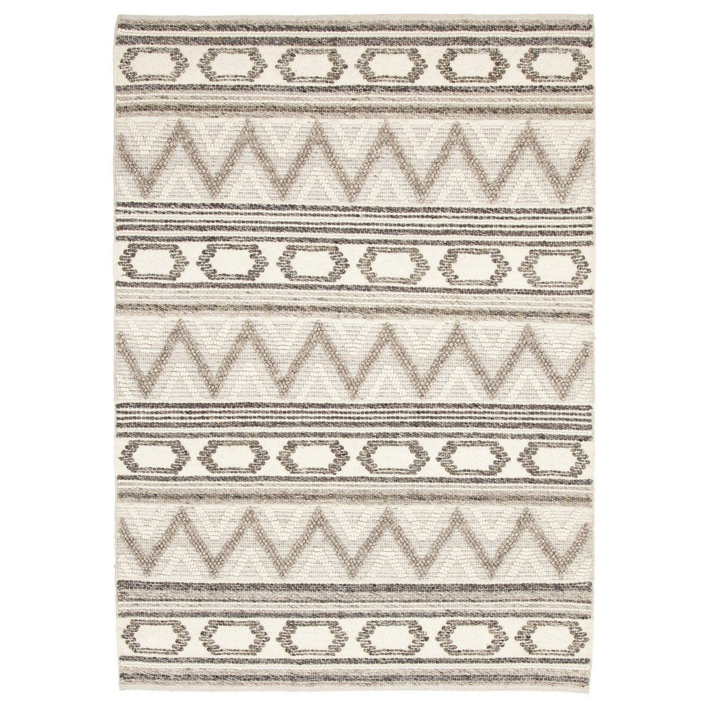 Tequesta Ivory & Grey Textured Tribal Rug