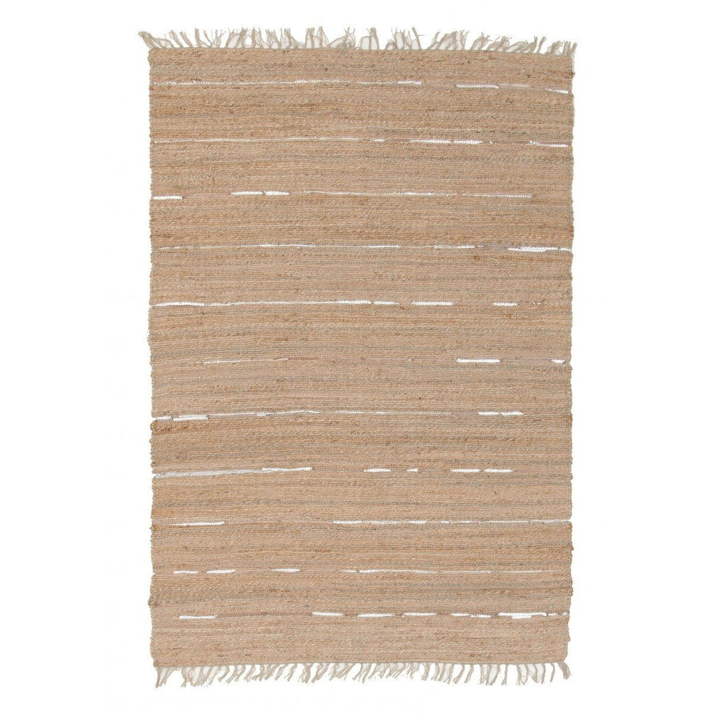 Thar Natural Jute & Silver Metallic Leather Rug