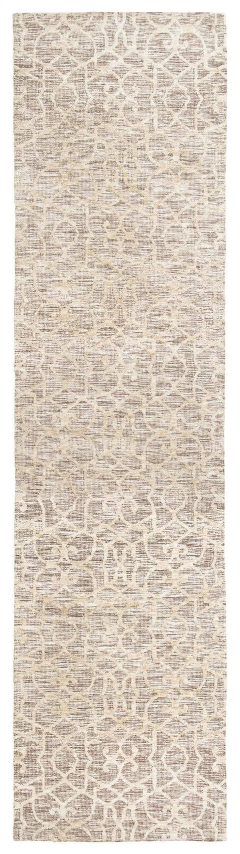 Tori Cream Brown and Ivory Textured Tribal Runner Rug