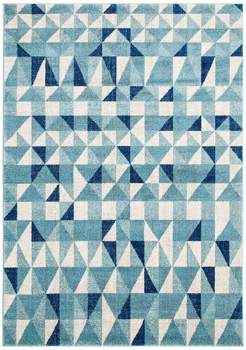 Trier Blue Geometric Triangle Rug