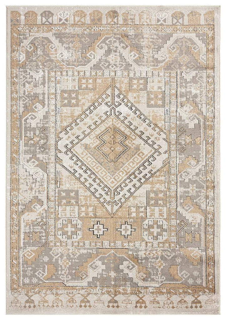 Tupelo Beige and Grey Tribal Medallion Rug