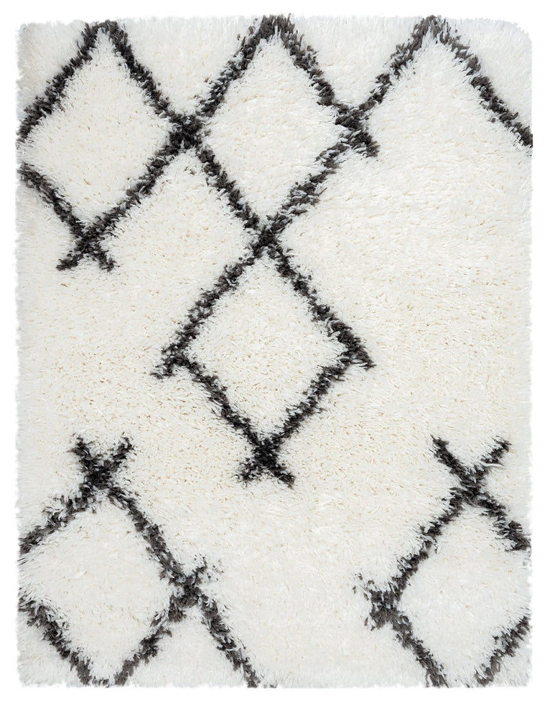 Tuva Ivory and Charcoal Grey Tribal Shag Indoor Mat