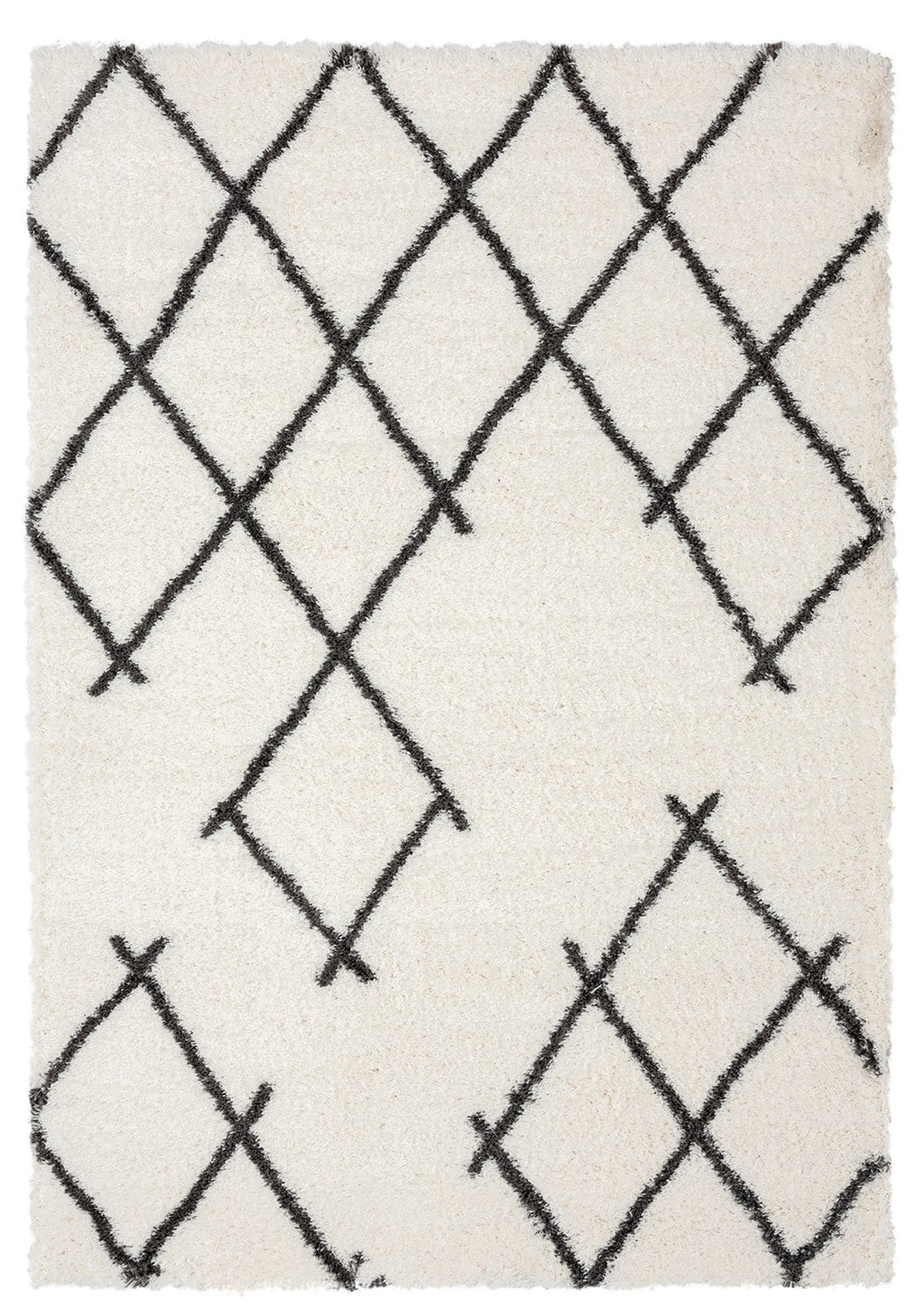 Tuva Ivory and Charcoal Grey Tribal Shag Rug